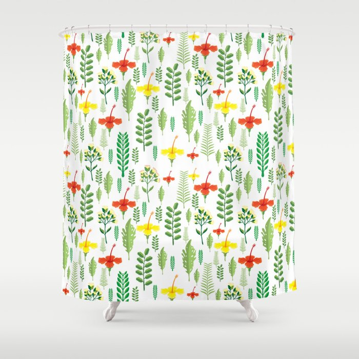 Colorful Orange Yellow Green Tropical Floral Shower Curtain By Pink Water