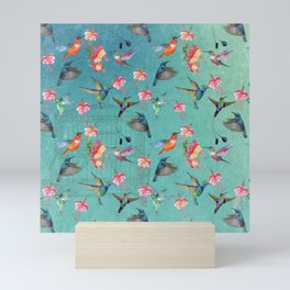 Vintage Watercolor hummingbirds and fuchsia flowers Mini Art Print