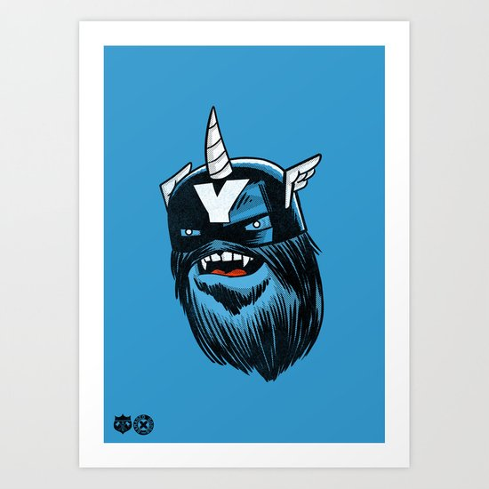 Yeticorn Comic Heroes series: Cap'n Aye!  Art Print