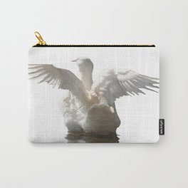 White Duck Flapping Wings on Water Vector Carry-All Pouch