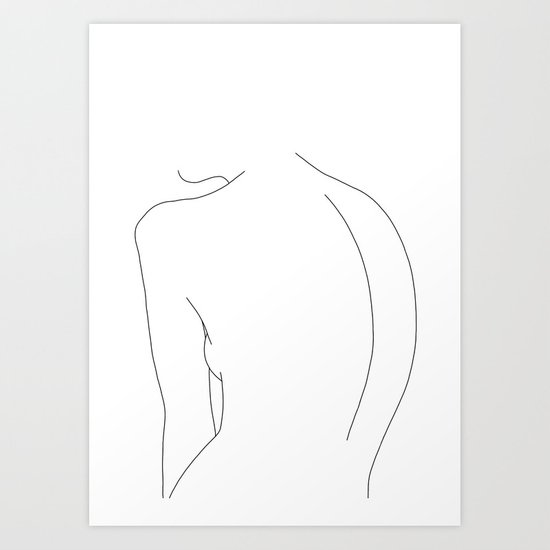 Minimal line drawing of women's body - Alex by thecolourstudy