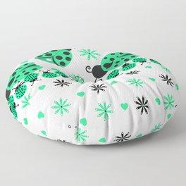 Cute Ladybugs green Floor Pillow