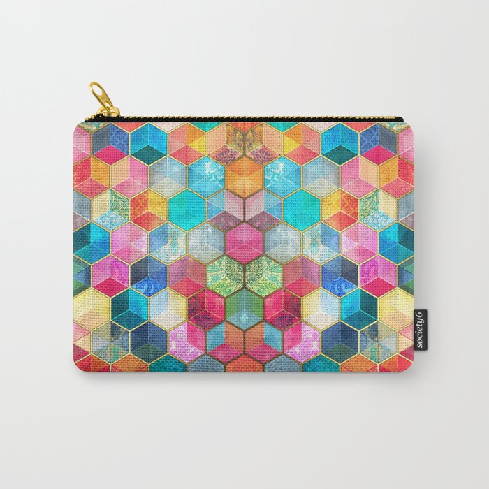 Crystal Bohemian Honeycomb Cubes - colorful hexagon pattern Carry-All Pouch