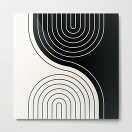 Geometric Lines in Black and Beige 22 (Rainbow and Lines Abstraction) Metal Print