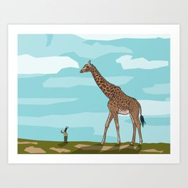 Giraffe riding dreams as yet unfulfilled Art Print