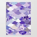 Nature background with japanese sakura flower, Cherry, wave circle. Ultra Violet Color of the Year by ekaterinap
