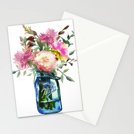 Pink Peonies in Mason Jar Stationery Cards