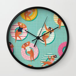 Lazy Pool Day - Cute and Kitschy Illustration Girls' Party, Girls' Weekend Wall Clock
