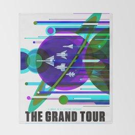 NASA Space Saturn Shuttle Retro Poster Futuristic Explorer Blue Throw Blanket