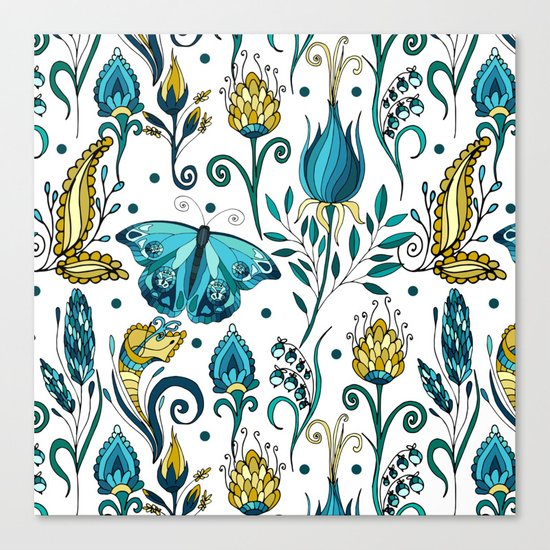 Floral pattern with butterfly Canvas Print