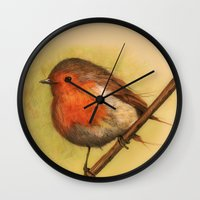birdy Wall Clocks featuring Birdy by ioanazdralea