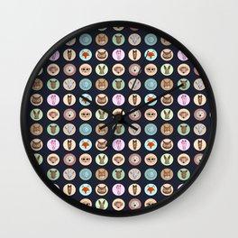 Vector animals in circles Wall Clock