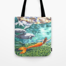 Swimming with Manatees Tote Bag