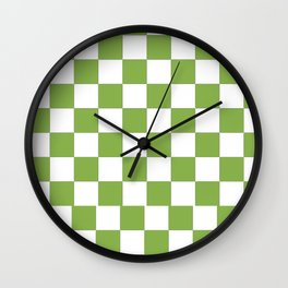 color of the year 2017  Greenery |checkerboard Wall Clock