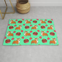 Cute happy playful funny puppy corgi dogs, sweet adorable yummy chocolate cake cartoon and red summer strawberries light pastel teal green design. Rug