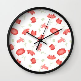 Red and Green Floral Pattern Wall Clock