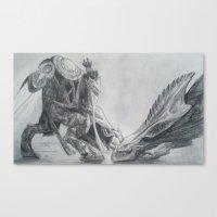 starcraft Canvas Prints featuring Zeratul Slays a Hydra by Luke Woolley