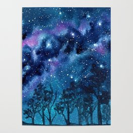 """""""Purple Milky Way"""" galaxy watercolor landscape painting Poster"""