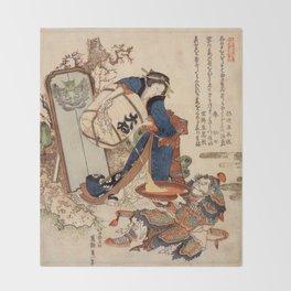 The Strong Oi Pouring Sake by Katsushika Hokusai Throw Blanket