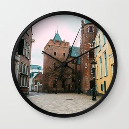 Yellow pastel colored old building   Utrecht City   fine art photography Wall Clock