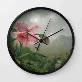 Orchid And Hummingbird Near A Mountain Waterfall 1902 By Martin Johnson Heade | Reproduction Wall Clock