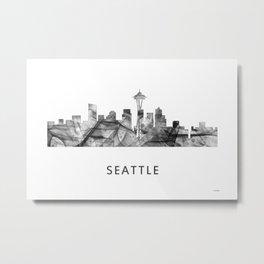 Seattle, Washington Skyline WB BW Metal Print