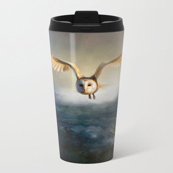 An owl flies over the lake Metal Travel Mug