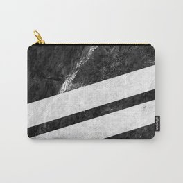 Black Striped Marble Carry-All Pouch