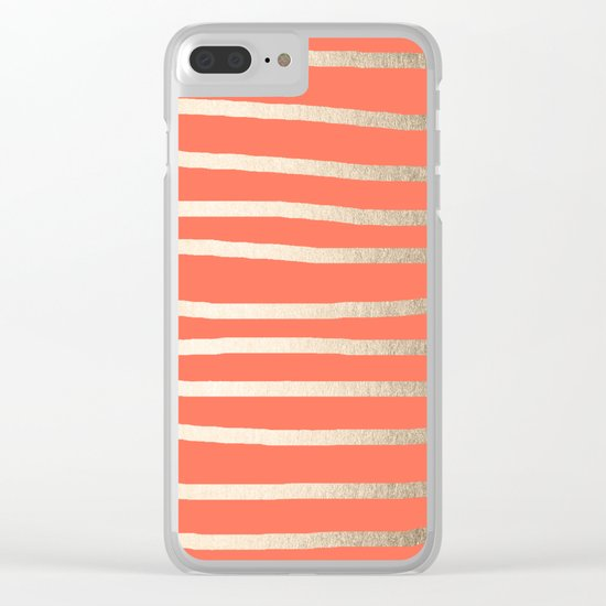 Simply Drawn Stripes in White Gold Sands on Deep Coral Clear iPhone Case
