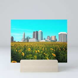 Columbus Ohio Skyline and Sunflowers Mini Art Print