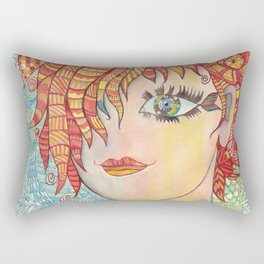 Abstract doodle portrait of young girl Rectangular Pillow