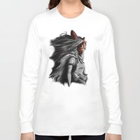 princess Long Sleeve T-shirts featuring Miyazaki's Mononoke Hime Digital Painting the Wolf Princess Warrior Color Variation by Barrett Biggers