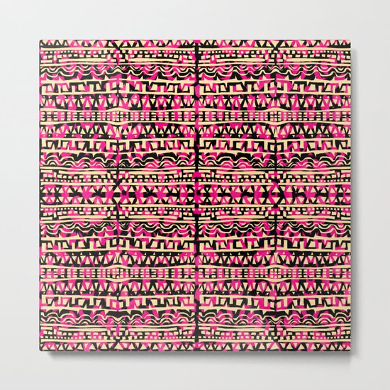 Tapestry Pattern Small Scale - Golden Pink Metal Print