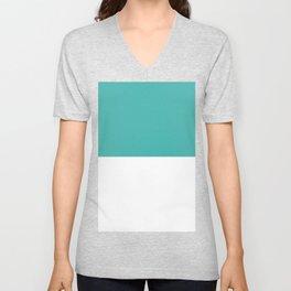 White and Verdigris Horizontal Halves Unisex V-Neck
