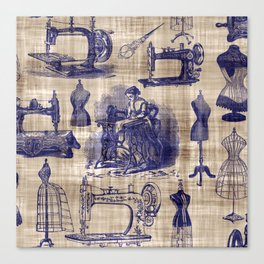 Vintage Sewing Toile Canvas Print