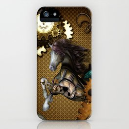 Steampunk, awesome steampunk horse iPhone Case