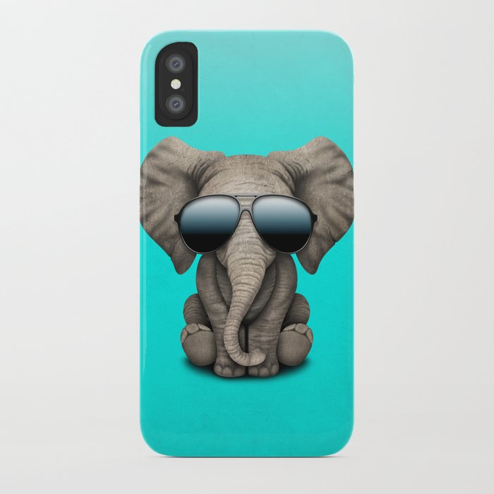 Cute Baby Elephant Wearing Sunglasses iPhone Case