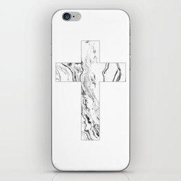 Christian cross marble black & white iPhone Skin