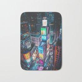 Times Square Nighttime Landscape Painting by Jeanpaul Ferro Bath Mat