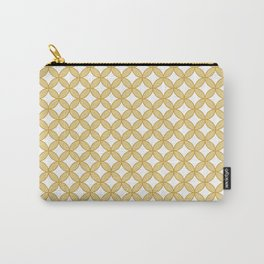 Modern gold yellow white geometric quatrefoil pattern Carry-All Pouch
