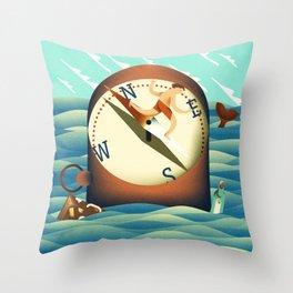 compass surfing Throw Pillow