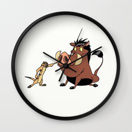 Funny Timon and Pumbaa Wall Clock