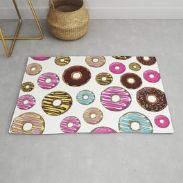 Donut Pattern, Colorful Donuts - Pink Blue Yellow Rug