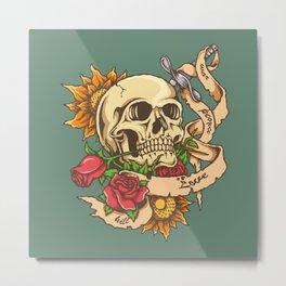 Skull and Sword Metal Print
