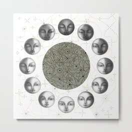 the moon's cycle on white Metal Print