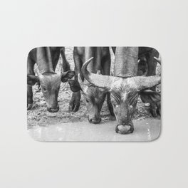Family of Buffaloes Drinking Bath Mat