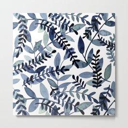 Watercolor branches - indigo Metal Print