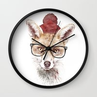 lady gaga Wall Clocks featuring It's pretty cold outside by Robert Farkas