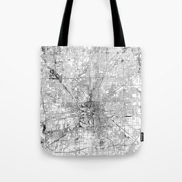 Indianapolis White Map Tote Bag