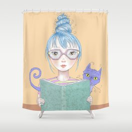 Reading girl with cat. Shower Curtain
